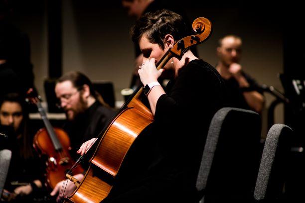 Contrebasse joué au doigt par un musicien dans un orchestre